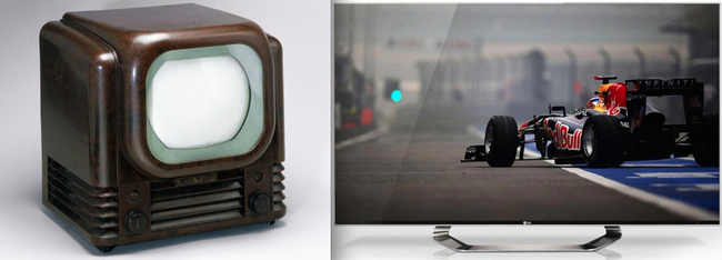 11.) Almost-prehistoric televisions VS flat screen televisions.