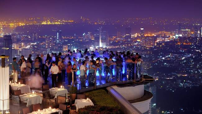 4.) Lebua Sky Bar: This bar in Thailand is 820 ft. in the air. I guess that's why they call it the high life?