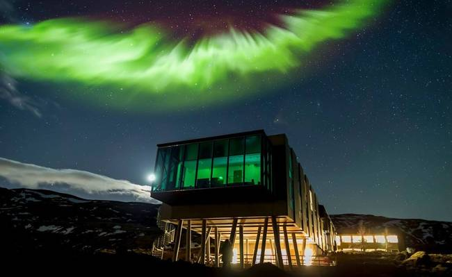 5.) ION Hotel Northern Lights Bar: Designed so that guests can view the northern lights, this bar in Iceland offers some spectacular views.