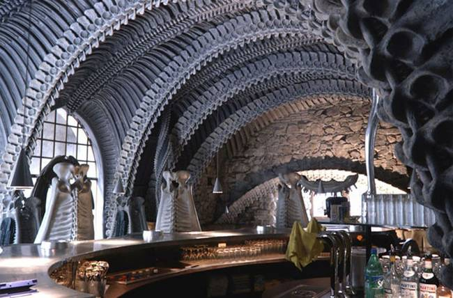 6.) H.R. Giger Museum BaR: H.R. Giger was a Swiss artist who did the visual effects on several huge blockbuster Hollywood films. This bar was designed as a homage to his singular style.