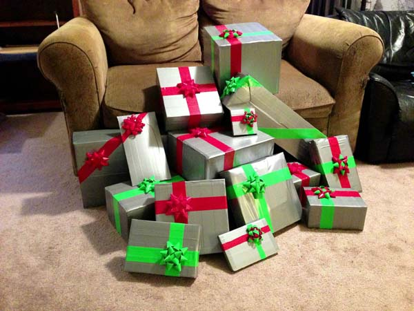 8.) Wrap gifts (in the meanest way possible).
