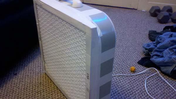 18.) Create a DIY air purifier with an air filter and box fan.