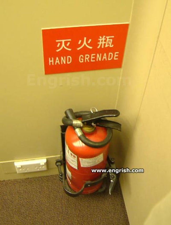 I hope that somewhere in China someone isn't trying to put out a fire with something that WAS labeled 'fire extinguisher'.