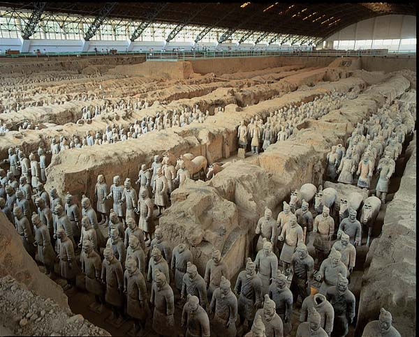 3.) China's First Emperor's Pyramid & The Terra cotta Army: At the location of this pyramid, it is said that there used to be a river of mercury and a mini-city, marking the tomb of Qin Shi Huang, the first emperor of China. There is also the famous Terra cotta Army surrounding the tomb. Recent scientific work at the site has found high levels of mercury in the soil of the tomb mound… making this a possibility.