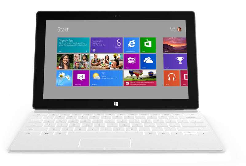 straight head on shot of microsoft surface tablet with keyboard case